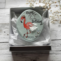 21st birthday flamingo pebble