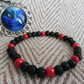 Red & Black Toothless Tail inspired bracelet. Beaded bracelet. HTTYD inspired