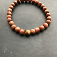 Goldstone & Tiger Eye Beaded Bracelet