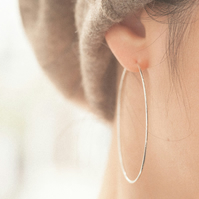 Handmade 925 Sterling Silver Large Hoop Earrings