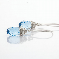 Handmade 925 Sterling Silver Drop Earrings with Swarovski Crystal Briolette