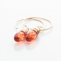 Gold Filled Drop Earrings with Swarovski Crystal Briolette pendant - Padparadsch