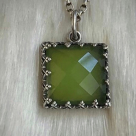 Sterling Silver And Jade Necklace With Princess Cut Setting