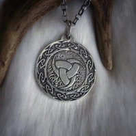 Sterling Silver Triple Horn Of Odin Necklace