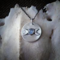 Sterling Silver Triple Moon Necklace