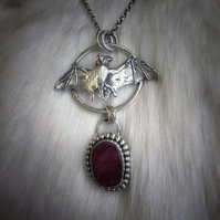 Sterling Silver And Ruby Bat Necklace