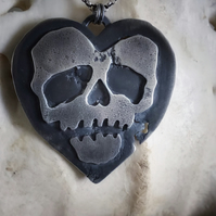 Sterling Silver Heart Skull Double Sided Necklace
