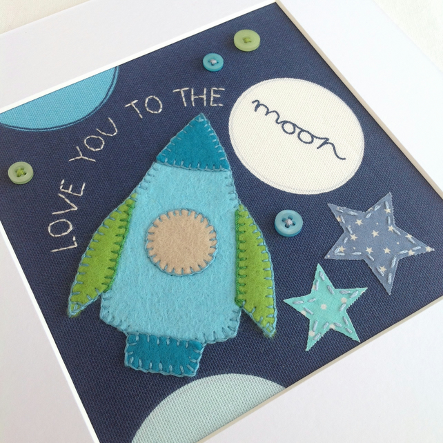 'Love you to the moon' - Embroidered art - Kids room decor