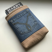Upcycled Denim Book Sleeve - Fabric Padded Book Protector - Gift for Book Lover