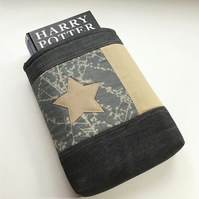 Upcycled Star Book Sleeve - Fabric Padded Book Protector - Gift for Book Lover