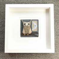 'Owl and Moon' - Embroidered Art - Home Decor Wall Art