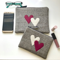 GIFT SET - 2 x Zippered Pouches - 'HEARTS' - Travel Bag - Makeup Bag