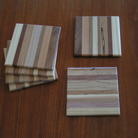 Set of six stripy wooden coasters