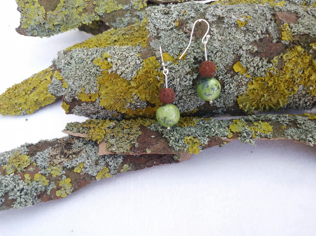 Peruvian serpentine and lava earrings