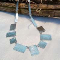 Hammered rectangular necklace