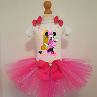 Girls Personalised  Minnie Mouse Birthday tutu dress ,  outfit