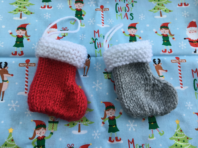 Mini Christmas knitted stocking