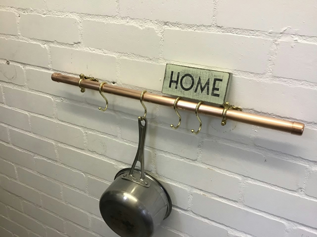 80 cm Copper Rail For Pots And Pans  With 8 Hooks