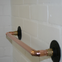 Copper Towel Rail With 22mm Pipe, In trend Industrial Fittings, Handmade.