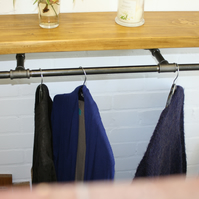Clothes Rail With Scaffold Plank Shelf. Industrial pipe and Fittings, steam Punk