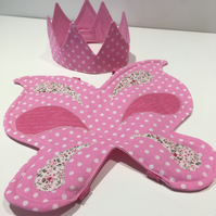 Pink Butterfy Wings and Spotty Soft Play Crown