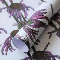 2 sheets of Echinacea Floral Gift Wrapping Paper