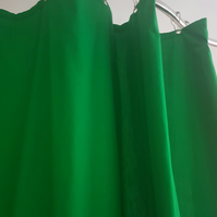 Green Organic Cotton Shower Curtain, washable non-waxed