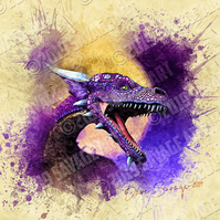 Purple Dragon against the Moon - Illustration Photographic Print