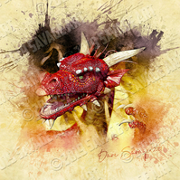 Red Dragon from the Flame - Illustration Photographic Print