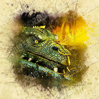 Green Dragon with Nose Ring - Illustration Photographic Print