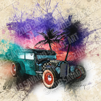 Tropical Hot Rod - Illustration Photographic Print