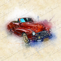 1948 Pontiac Torpedo in Red - Illustration Photographic Print
