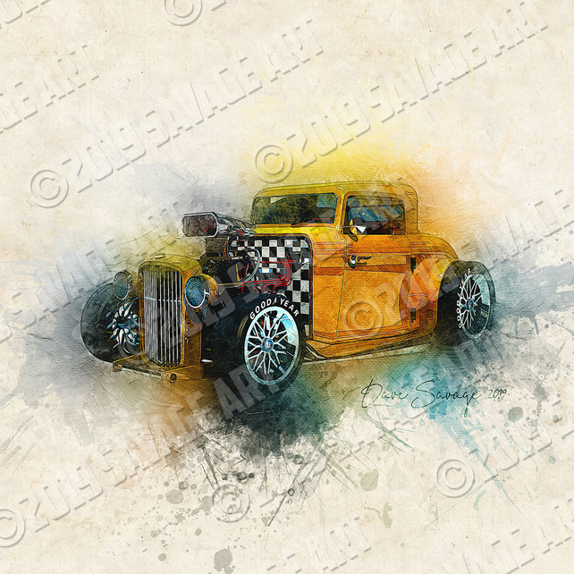 1932 Ford Deuce Coupe Hot Rod - Illustration Photographic Print
