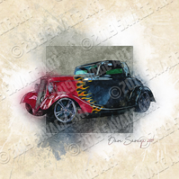 Flamejob Hot Rod - Illustration Photographic Print