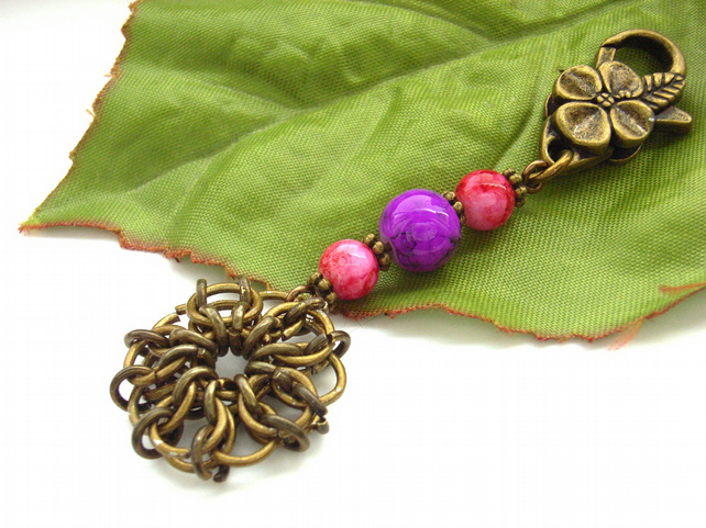 Bag charm flower chainmaille