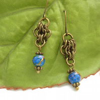 Chain maille earrings with blue glass beads