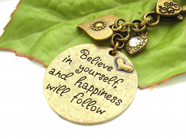 Stamped affirmation bag charm with heart charms