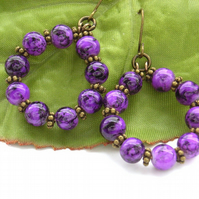 Purple bead hoop earrings