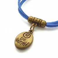 Be yourself affirmation charm bracelet on blue cord