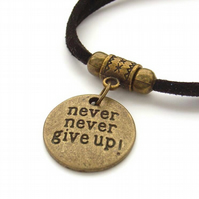 Never never give up stamped words charm bracelet