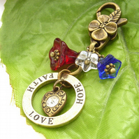 Love hope faith stamped affirmation bag charm