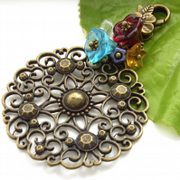Bag charm filigree motif with glass flowers