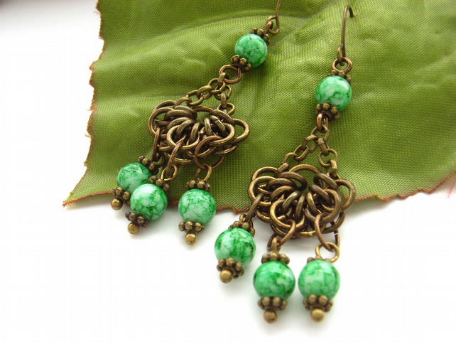 Beaded chainmaille chandelier earrings in grass green