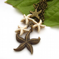 Star and starfish bag charm