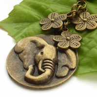 Elephant and flowers bag charm