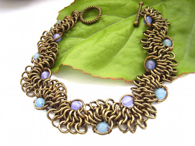 Lacy chain maille bracelet with violet and blue quartz beads