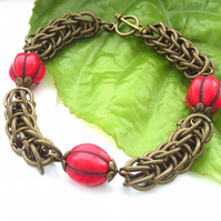 Persian chain maille link bracelet with red magnasite beads and toggle clasp