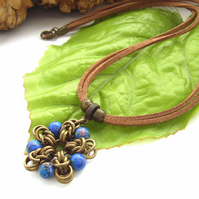Blue bead chain maille flower pendant on faux suede cord necklace