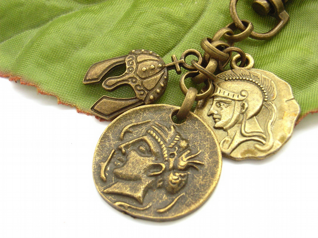 Coin and helmet ancient world vintage style bag charm