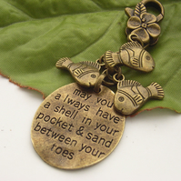 Seaside stamped word bag charm with fish